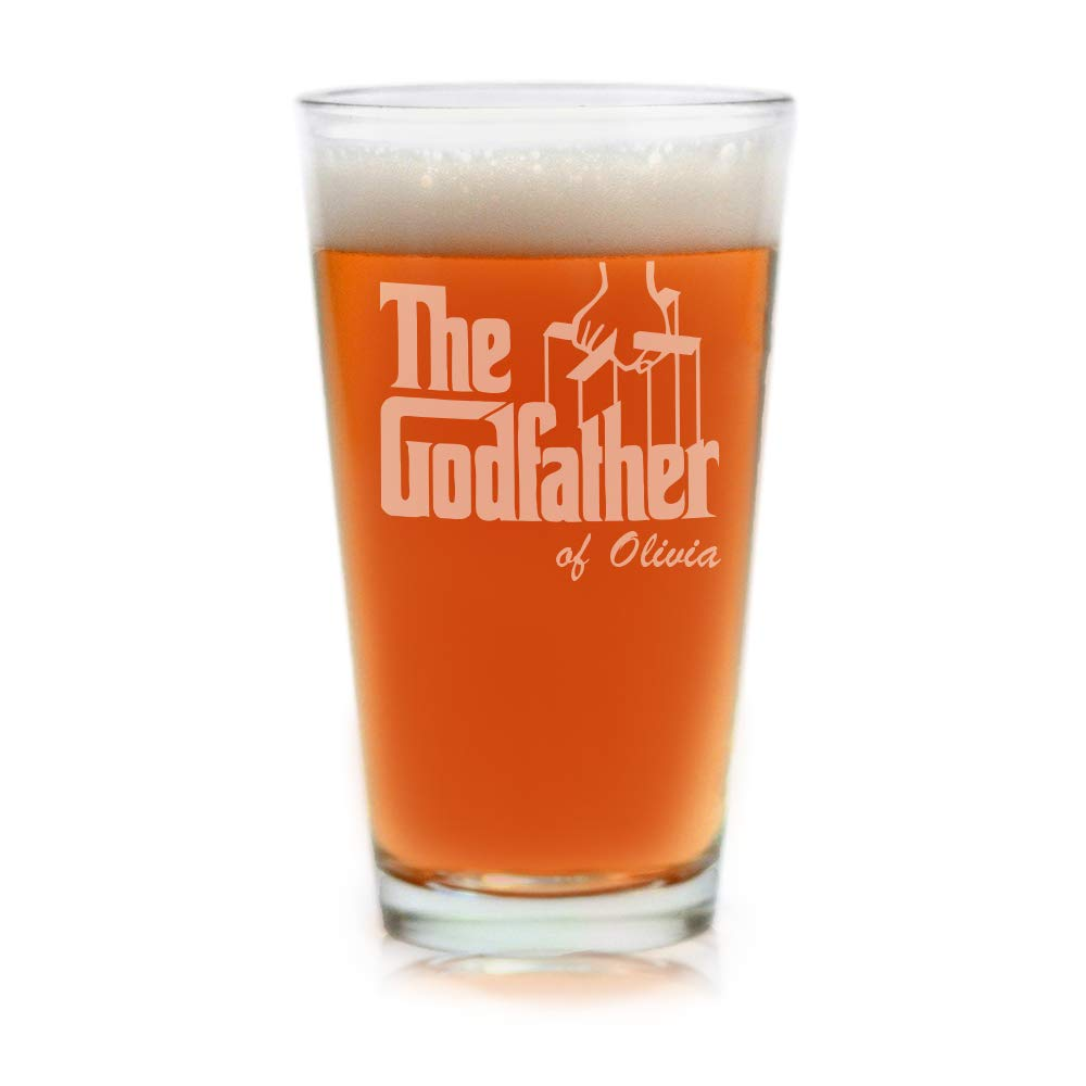 Movies On Glass - Premium Etched Personalized The Godfather Movie Engraved Logo Pint Beer Glass - Godparent Gift