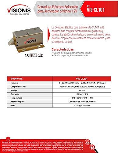 Visionis VIS-CL101 Cerradura Eléctrica Solenoide para Archivador o Vitrina 12V - - Amazon.com