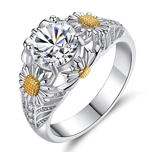 ATDMEI Daisy Sunflower Flower Rings Sterling Silver Plated for Women Girls Size 6 Jewelry Gifts