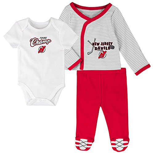 - NHL New Jersey Devils Children Unisex Future Champ 3Piece Set, 6-9 Months, White