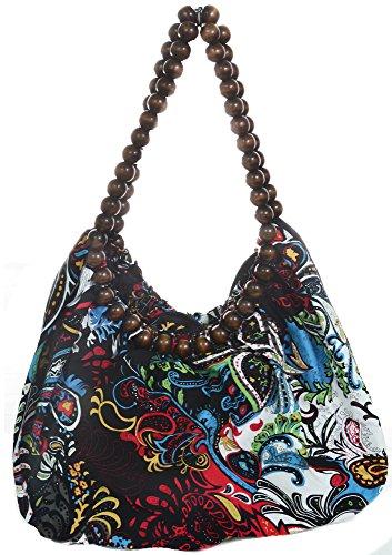 Beaded Hobo Purse Handbag - Colorful Paisley Hobo Beaded Shoulder Handbag Purse