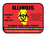 Illinois Zombie Hunting Hunt Permit funny vinyl decals bumper stickers