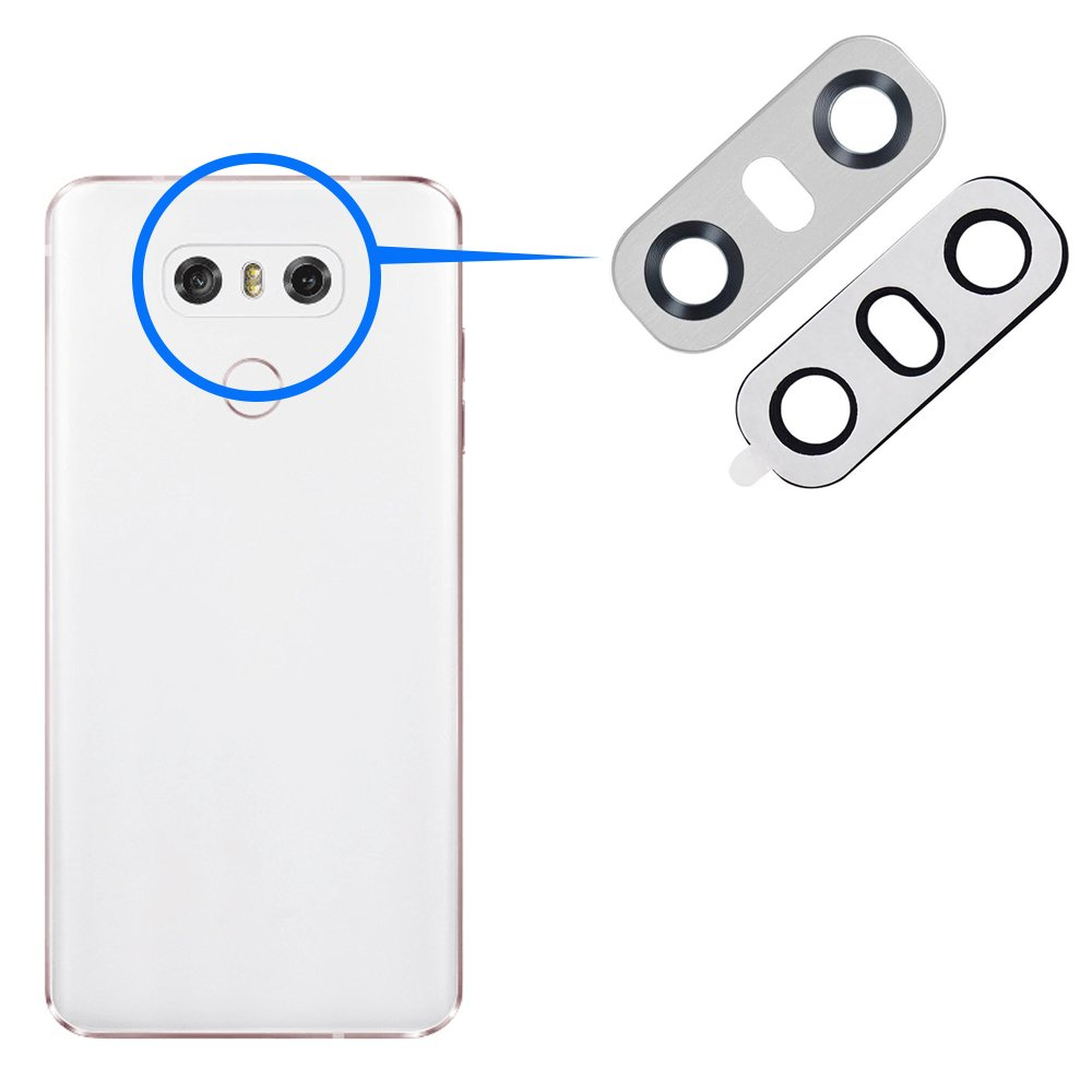 MMOBIEL Reemplazo Lente para C/ámara Trasera Posterior Compatible con LG G6 Series con Pinzas Limpiador Ice Platinum