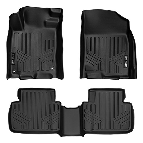 SMARTLINER Floor Mats 2 Row Liner Set Black for 2016-2018 Honda Civic Sedan or Hatchback