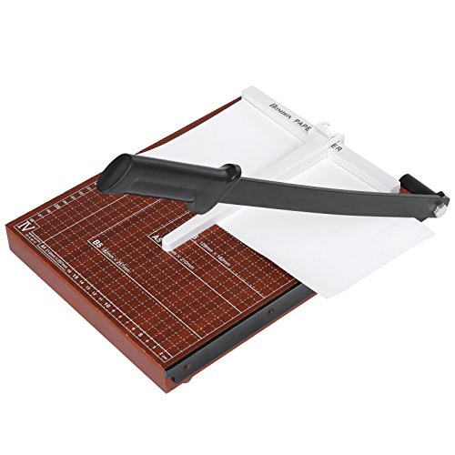 Guillotine Machine (Flagup Paper Cutter, Wooden Professional Guillotine Blade Gridded Paper Trimmer Machine 12 Sheets Capacity for Home Office (Red, 9.8 x 8.2))