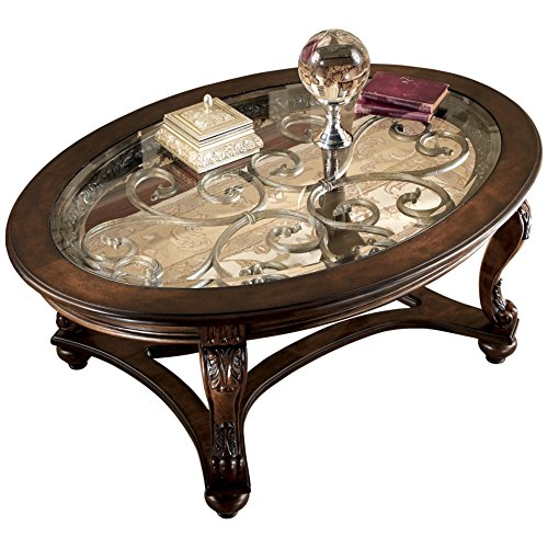 Oval Glass Coffee Table 3 Piece Set Furniture Home Decor: Amazon.com: Ashley Furniture Signature Design