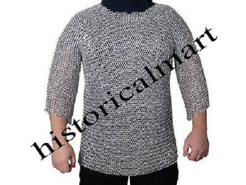 QUALITYMUSICSHOP Aluminium Round Riveted Chain Mail Shirt x-Large HUBERGION Half SLEVES