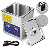 Mophorn Ultrasonic Cleaner 1.3L Heater Timer Commercial Ultrasonic Cleaner Professional Stainless Steel Industrial Ultrasonic Cleaner(1.3L)