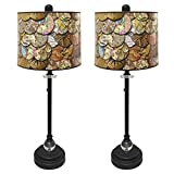 Royal Designs 28'' Crystal and Oil Rub Bronze Buffet Lamp with Vintage Old World Maps Design Hard Back Lamp Shade, Set of 2