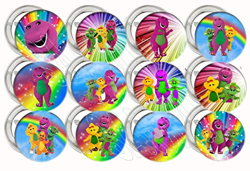 "Barney Button Pins Purple Dinosaur Party Favors Supplies Decorations Collectible Metal Pinback Buttons, Large 2.25"" -12 -"