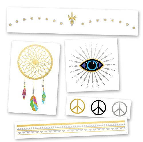 SET - Flash Tattoos set of 25 assorted boho-inspired premium waterproof metallic gold & silver jewelry colorful temporary foil party tattoos, metallic tattoo, temporary tat (Free Flash Tattoos)