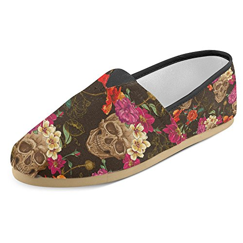 InterestPrint Women's Loafers Classic Casual Canvas Slip on Fashion Shoes Sneakers Flats Skull and Flowers