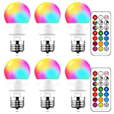 Yangcsl LED Light Bulbs 40W Equivalent, RGB Color Changing Light Bulb with Remote Control, E26 Base, Pack of 6