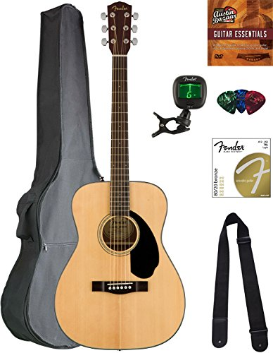 Fender CC-60S Concert Acoustic Guitar - Natural Bundle with Gig Bag, Tuner, Strap, Strings, Picks, Austin Bazaar Instructional DVD, and Polishing Cloth