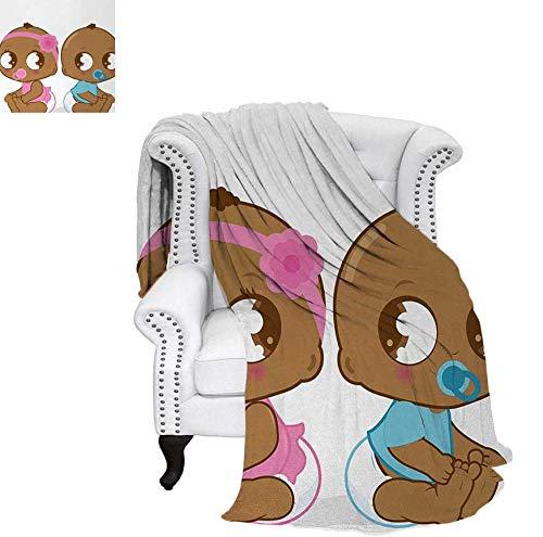 Super Soft Lightweight Blanket Cute African American Baby Girl Boy in Diaper Kids Print Oversized Travel Throw Cover Blanket 50