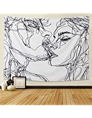 Dremisland Tapestry Wall Hanging- Abstract Sketch Art Kiss Lovers Tapestry Wall Decor for Dorm Decor for Living Room Bedroom Dorm (White, 60ʺL × 80ʺW/150cmX200cm)