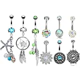 8 Pcs 14G Belly Button Rings for Women Girls Navel Ring Barbell Body Piercing Jewelry