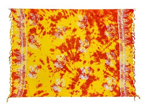 dye Orange drappo portafoglio sciarpa Palme Batik telo Bali spiaggia Sarong Pareo Gelb mare Tye da OnOv8T