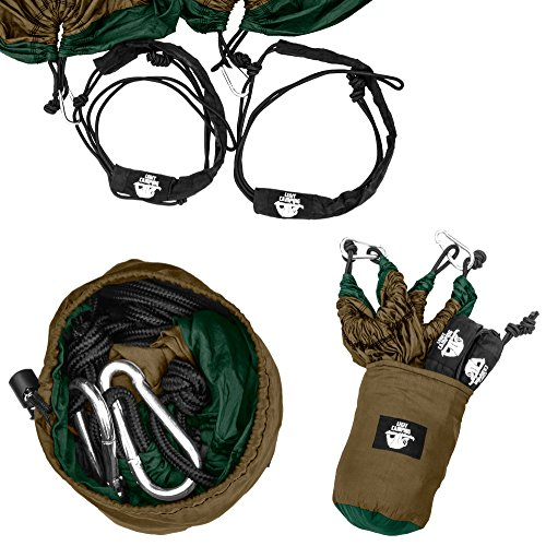 Legit Camping 210T Nylon Double Hammock with Straps, Steel Carabiners, Stuff Sack and Rope – Bronze/Black