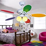 Akronfire Modern Kids Ceiling Fan Pull Chain Control 5 Reversible Wood Blades/3 Colors Light Cover Silent Metal Fans Chandelier Decorate Children's Bedroom 42 Inch