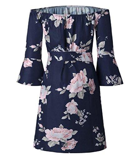 Coolred-femmes Sexy Dos Nu D'une Robe Florale Partie Taille Ligne Bleue Smocks