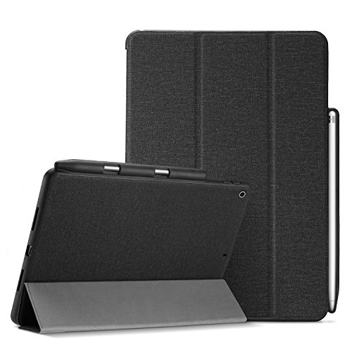 ProCase iPad 9.7 Case, Slim Folio Stand Protective Case Smart Cover for iPad 9.7 2018 iPad 6th Generation / 2017 iPad 5th Generation with Apple Pencil Holder -Black