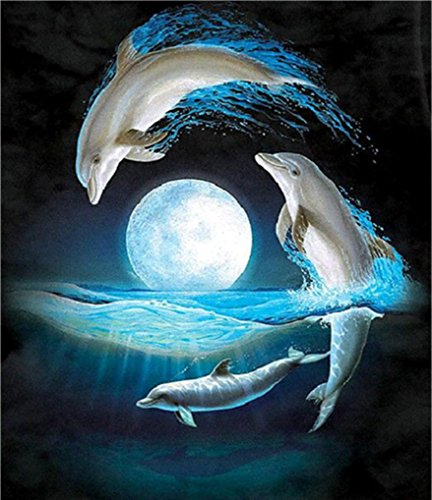 Botrong 5D DIY Diamond Painting Embroidery Cross Craft Stitch Home Decor Art - 30x40cm/11.81x15.75 inch (Dolphin)