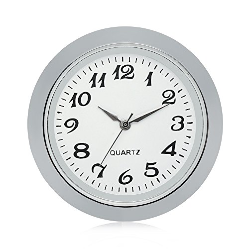 Silver Tone Desk Clock (ShoppeWatch Mini Clock Insert Quartz Movement Round 1 7/16 (35mm) Miniature Clock Fit Up White Face Silver Tone Bezel Arabic Numerals CK095SL)