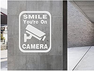 StickerLoaf Brand Smile You're on CAMERA 24-7 Video Surveillance SECURITY CAMERA SIGN WINDOW WALL DECAL BUSINESS SHOP Storefront VINYL DOOR SIGN COMPANY Warning Security Surveillance 24 Hours Closed Circuit Store Shopping Mall Parking Garage Office Buildi