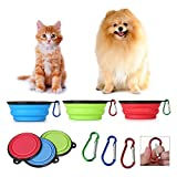 Set of 3 Large Portable Travel Dog Bowl for small Medium to Large Dogs Lightweight Collapsible Pet Dog Bowl Travel Bowl Water Feeder Bowl with Carabiner (Blue & Red & Green)