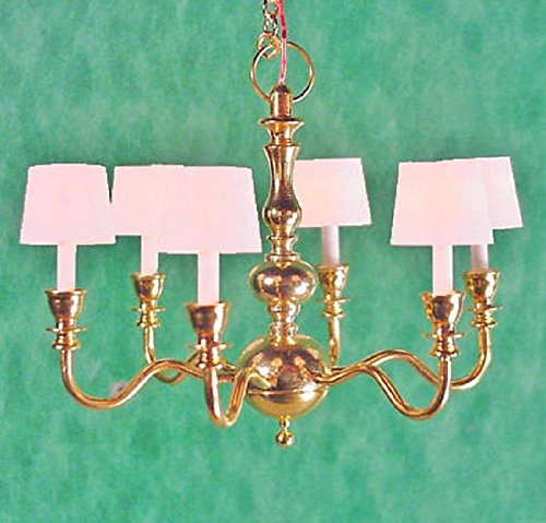 Dollhouse Miniature Clare-Bell Brass Works Artisan 6 Arm Chandelier with White Shades by Dollhouse Miniature