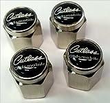 Oldsmobile Cutlass Supreme 442 Valve Stem Caps (Chrome - Black/White)