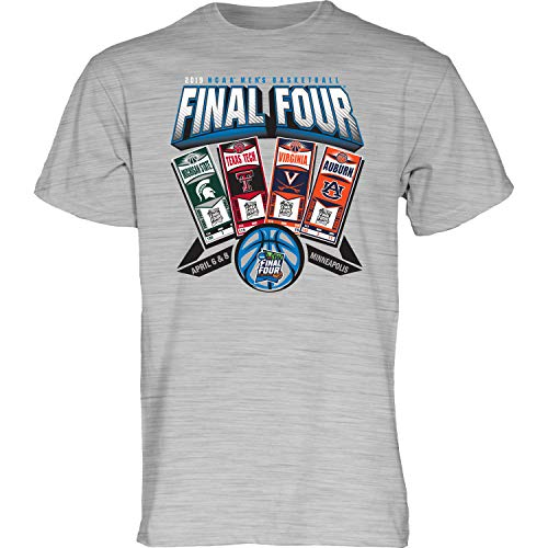Blue 84 2019 NCAA Final Four Team Logos March Madness Ticket Heather Gray T-Shirt (M) (Ncaa Tickets Basketball)