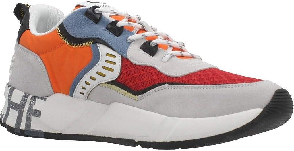 VOILE BLANCHE Art Club01 Sneaker Uomo Comoda in Tessuto e Pelle Arancione