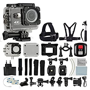 4K HD DV 16MP Sports Action Camera (Black) - Wi-Fi + Wrist RF + 170° Wide Angle Lens + Waterproof Case & Backdoor + Bike Mount + Chest & Head Strap + Monopod/Selfie + Deluxe Valued Accessory Bundle