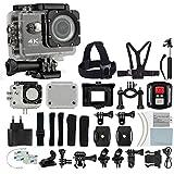 4K HD DV 16MP Sports Action Camera (Black) - Wi-Fi + Wrist RF + 170° Wide Angle Lens + Waterproof Case & Backdoor + Bike Mount + Chest & Head Strap + Monopod/Selfie + Deluxe Valued Accessory Bundle