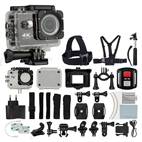 4K HD DV 16MP Sports Action Camera (Black) - Wi-Fi + Wrist RF + 170° Wide Angle Lens + Waterproof Case & Backdoor + Bike Mount + Chest & Head Strap + Monopod/Selfie + Deluxe Valued Accessory Bundle Photo4Less