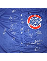 Chicago Cubs 2016 Team Autographed Signed Blue Jersey Bryant Rizzo Zobrist Lester