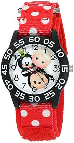 Disney Girl's 'Mickey Mouse' Quartz Plastic and Nylon Watch, Color:Red (Model: W003012)