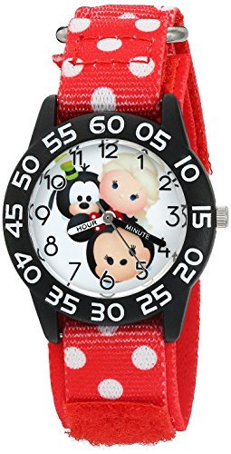 Time Watch Teacher Friends (Disney Girl's 'Mickey Mouse' Quartz Plastic and Nylon Watch, Color:Red (Model: W003012))