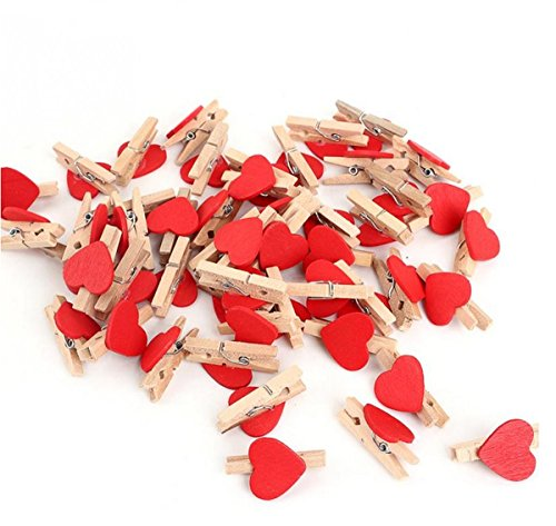 Yosoo Mini Heart-Shaped Wooden Clothespin Craft Clips Wooden Letters for Scrapbooking Wood Crafts Wedding Decoration - 3cm x 2cm (50)