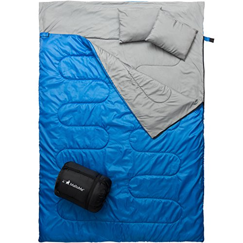 MalloMe Double Camping Sleeping Bag - 3 Season Warm & Cool Weather - Summer, Spring, Fall, Lightweight, Waterproof For Adults & Kids - Camping Gear Equipment, Traveling, and Outdoors - 2 Free Pillows! (Layer Single Fleece)