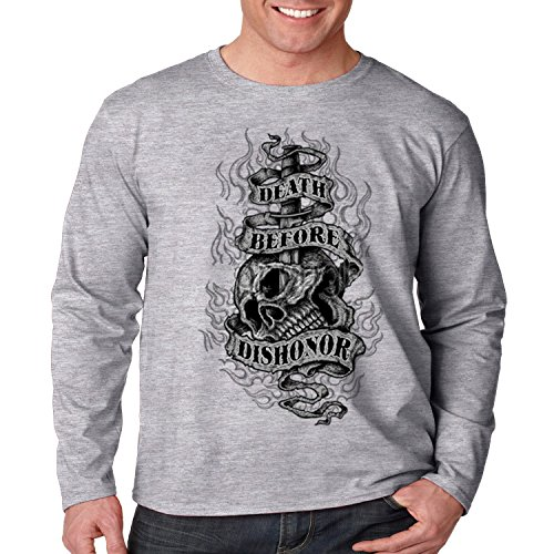 Patriotic Long Sleeve Shirt Death Before Dishonor Mens S-3XL (Heather Gray, 3XL)