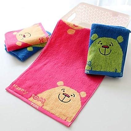 Bearony Suave 4pcs Tom Bear Conejo patrón de algodón Absorbente Toallas Facecloths Toallas de baño Conjunto