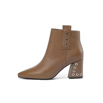 Cvbnm Botines Botas de otoño para Mujer Botas de tacón Alto para niños Botas Martin Puntiagudas Moda de Mujer de Cuero Grueso con Zapatos de Mujer: ...