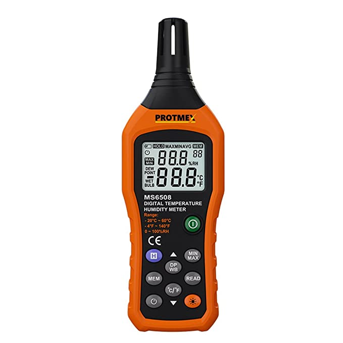 Amazon.com: Protmex MS6508 LCD Digital Psychrometer Mini Temperature and Humidity Gauge Meter with Dew Point and Wet Bulb Temperature Hygrometer: Home & ...