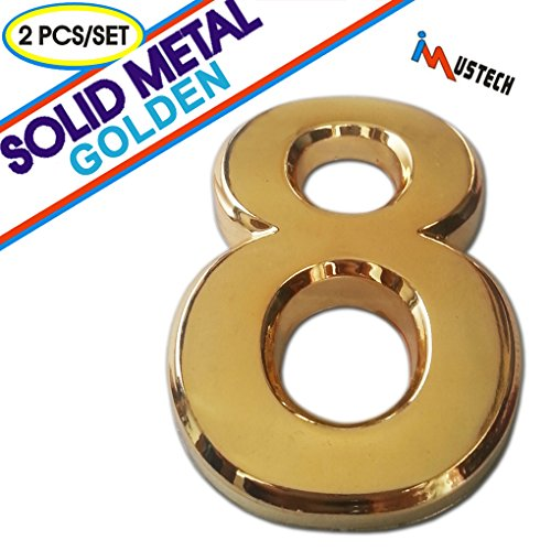 2 Pcs of Number 8 Solid Metal Mailbox Number in Golden Plating, BLK-Tech 2-3/4 Inch Eco-Friendly Mailbox Number, House Number, Door Number, Hotel Number, Address Number