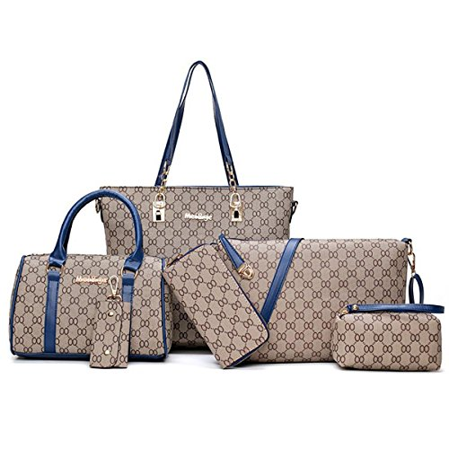Replica Designer Bags (Tote Handbag Womens Shoulder Bag 6 pack Casual Signature Printing Pu Leather by Yayabb (onesie, 713blue))