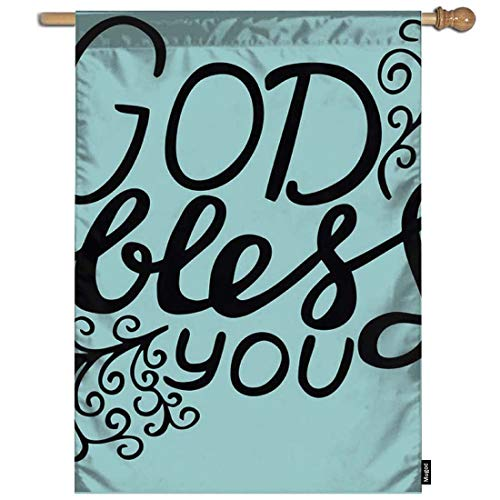 Mugod Biblical Poster Garden Flag Hand Lettering God Bless You with Curl on Light Green Decorative Spring Summer Outdoor House Flag for Garden Yard Lawn 28 x 40 Inch