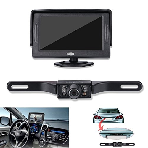 Backup Camera and Monitor Kit For Car,Universal Waterproof Rear-view License Plate Car Rear Backup Camera + 4.3 LCD Rear View Monitor